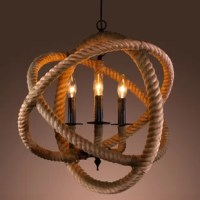 Put the perfect finishing touch on a nautical-themed room with this rope-enclosed three-light chandelier. The visually striking rope design of this contemporary chandelier works well with coastal colors and lighthouse and ship decor, diffusing multidirectional light across your room to highlight the treasures within. The adjustable height of this fixture makes placement simple. The design possibilities are endless with this  rope chandelier in your home. Hang it over your dining room table to...