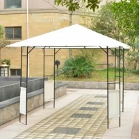 Spend your days outside and have shade anywhere you need with this Outsunny gazebo canopy. This tent is perfect for any outdoor events such as camping, barbecues or family gatherings. They will give you a large covered area where you can easily set up chairs underneath. Made of a water-resistant top and a durable, rust-resistant steel frame this canopy will provide a sturdy cover while being light enough to quickly move if need be. The frame is easy to set up and takedown but is recommended...
