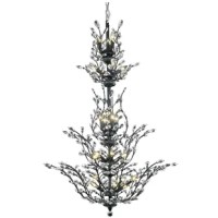 The ethereal splendor of this collection chandeliers adds floral-inspired fantasy to your palace. Tiers of delicate steel branches shine in chrome, dark-bronze, or gold finishes. In lieu of flowers and buds, this fanciful seedling sprouts a wide variety of clear or golden-teak crystals. An organic centerpiece breathtaking in the dining room, living room, or stairwell.