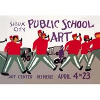 Poster for exhibition of public school art at the Sioux City Art Center, Iowa, showing a marching band. In the depression of the 1930's a federal stimulus stimulus program was created, the WPA. The Works Projects Administration (WPA) funded theaters, art and inspired lots of classic reminders of a wounded USA struggling colorfully to come out of the Depression.
