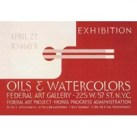 Poster for exhibition of oil and watercolor paintings at the Federal Art Gallery, 225 W. 57 St., New York City, New York, showing a palette and paintbrushes. In the depression of the 1930's a federal stimulus stimulus program was created, the WPA. The Works Projects Administration (WPA) funded theaters, art and inspired lots of classic reminders of a wounded USA struggling colorfully to come out of the Depression.