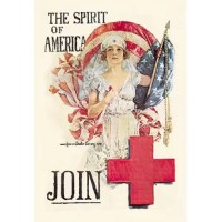 The Spirit of America is Christy's most beautiful design for the Red Cross, and was created just after the war when the relief organization was overwhelmed by returning soldiers. Americans were so patriotic that 30 million Americans joined during the war, nearly one third of the 90 million population!