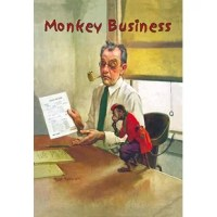 An accountant shows a performing monkey, with a cup, the balance sheet that has a $20,000 net loss on it. Art by Robert B. Robinson (1886 -1952)