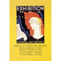 Poster for Federal Art Project exhibition , showing head-and-shoulders portrait of Greek figure holding print. In the depression of the 1930's a federal stimulus stimulus program was created, the WPA. The Works Projects Administration (WPA) funded theaters, art and inspired lots of classic reminders of a wounded USA struggling colorfully to come out of the Depression.