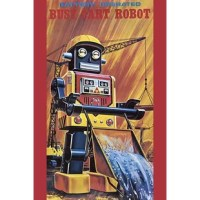 The 1950's was a time of wonder and the universe was the focus of many young imaginations. Hollywood adopted science fiction and the toy industry followed closely. The Japanese manufactured toy robots for the children of America and designed great boxes to hold these vintage tin toys. This illustration art comes directly from these boxes.