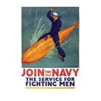 Poster showing a sailor astride a torpedo.