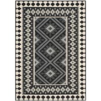 Proving neutral can still be noteworthy, this dynamic area rug showcases a Southwestern-inspired pattern in black, cream, and gray hues that blend easily with a variety of color palettes and aesthetics. This piece is power-loomed in Turkey from 100% polypropylene – a durable synthetic material that resists staining and fading – so it's an ideal option for outdoor spaces and high-traffic rooms inside your home. Since it has a low 0.25