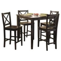 Modern and stylish, this 5 Piece Counter Height Dining Set is designed for a contemporary home set up. This set consists of four counter-height chairs and a counter-height table. The chairs have a cross back design that adds to the beauty of this set. These chairs feature footrest for comfort. The square-shaped top of the table rests on four sturdy legs. The wooden construction of this set makes it strong and durable. This dining set has a black finish that makes it eye-catchy. This 5 Piece...