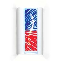 A contemporary and exuberant take on a patriotic theme. The bursts of red and blue glass, illuminated by a lively curve carved directly in the ceramic sconce, is reminiscent of fireworks, parade bunting or waving flags.