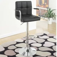 Pair a contemporary bar stand with a high bar stool with cubed tufted faux leather seat and back cushion.