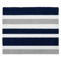 Navy Blue and Gray Stripe Floor Rugs will help complete the look of your Sweet Jojo Designs room. Made with 100% cotton yarn, these hand tufted, super soft rugs will feel as good as they look! These rugs have a non-skid backing so they can easily be used in the bedroom, bathroom, or any room in your home. Dimensions: 30 in. x 36 in. Fabric: 100% Cotton Yarn. Spot clean as needed.