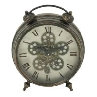 Bring home this table clock that showcases an antique-inspired look. It's the perfect piece to place on a bookshelf or desktop for a practical yet decorative accent. Made in a traditional, alarm-clock inspired style, it features a distressed gray metal frame and feet. Its face displays an off-white background and faded roman numerals, as well as an hour hand, minute hand, and ornamental gears in the center. It accommodates one AA battery to help keep you on time.