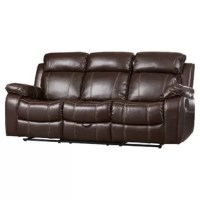 Whether you are having a family gathering or hosting a game night or movie night. This motion set features plush bonded seating and contrasting baseball stitching which adds a touch of style. The sofa and love seat are equipped with built-in cup holders for your convenience. And the love seat also features a below storage compartment and two gliders. Match this set with a simple glass top occasional set.
