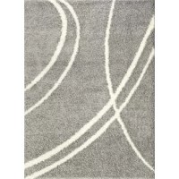 Set a textured foundation for your space with this light gray and white shag area rug, showcasing an abstract curved stripe motif. Made in Turkey, this area rug is machine woven from stain- and fade-resistant polypropylene in a thick 1.18
