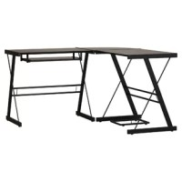 Whether tackling taxes or working on your next big novel, this writing desk is here to help. Showcasing an L-shaped silhouette that's ideal for any corner or spacious home office, this piece is perched atop a steel frame in a powder-coated finish. The beveled safety-glass tabletop offers a sleek motif to your space, while a convenient sliding keyboard is perfect for all your typing needs. Plus, a geometric design allows it to work well in any contemporary setting.