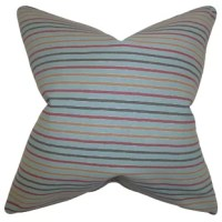 Use this chic and modern throw pillow as a finishing touch to your interiors. This accent piece features a classic stripe pattern in shades of blue, pink and yellow. Great for indoor use, this decor piece is made of 100% soft cotton material. Crafted in the USA.