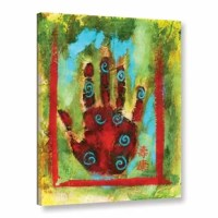 ArtWall Elena Ray 'Buddhist Palm' Painting Print on Gallery-wrapped Canvas is a stunning asian themed reproduction featuring a red hand with blue spirals. A wonderful piece to add color to any home or office.