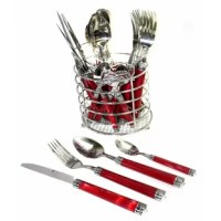 Crafted from high quality Stainless Steel this flatware set has unique red marble finish handles. This 24 piece Cutlery / Flatware set will enhance your family dining table and will be an attractive piece of conversation in its own right. This set has been exclusively designed and crafted for Nature Home Decor and it is part of the Rainbow Elite Collection.
