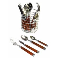 Elegant Design has been crafted from high quality Stainless Steel with unique dark wood finish to the handles, this 24 piece Cutlery / Flatware set will enhance your family dining table and will be an attractive piece of conversation in its own right. This set has been exclusively designed and crafted for Nature Home Decor and it is part of the Rainbow Elite Collection.