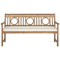 Perfect for porches and patios, a bench like this is a great option for rounding out your outdoor space with an understated seat. Crafted from solid acacia, this piece is a weather-resistant option for your home thanks to acacia's natural resilience. An openwork back of circles and vertical slats lends this piece a decorative touch perfect for traditional or coastal settings, while the polyester upholstered cushion offers a touch of padding. This bench seats up to three people.