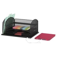 Organize your office with this Active Powered desktop organizer. Aids in office supplies organization and file storage. Three drawers, one horizontal letter tray and one vertical file section for additional storage of notebooks and folders. Features a USB port and power cord to power-up your accessories while you work. Steel mesh construction with durable powder coat finish.