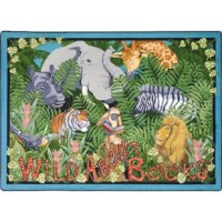Even the jungle animals enjoy an exciting tale! Encourage your kids to let loose with literacy with this Wild About Books Oval Kids Rug! Bring some youthful energy to your space with the Wild About Books Kids Rug!