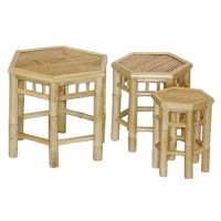 Opt to give your furniture collection an eastern culture flair with this Porter 3 Piece Bamboo Stool Set. 3 different sizes, the Porter 3 Piece Bamboo Stool Set stacks up onto each other, making them easy to store. The Porter 3 Piece Bamboo Stool Set's authentic bamboo craftsmanship makes them a great addition to any table or bar set.