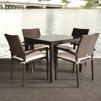 The Liberty 5 piece wicker square patio dining set is a trendy and sleek addition to your backyard oasis. This patio set includes one tempered glass square table and four wicker stacking armchairs. Seat cushions are included for additional comfort. Assembly is required only for the table. Comes with free feron guard wood perservative for longest strap durability. It works great against the effects of air pollution salt air, and mildew growth. For best protection, perform this maintenance every...