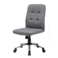 Give yourself a spot to sit as you tackle your to-do list with this clean-lined office chair. On-trend and on-budget, this piece is crafted with steel frame, foam fill, and linen upholstery in a solid hue for understated appeal. Tufted details dot the back for a touch of texture, while caster wheels below offer must-have mobility. Thanks to a tilt mechanism and convenient lever, this swivel seat adjusts in height to suit your needs.