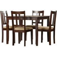 The Owings 5-Piece Traditional Height Dining Set will bring classic design and warmth to your kitchen or dining area. Inspired by the simplicity of the American Craftsman era, this sturdy dining set is a great way to optimize space without compromising style. With its clean lines and solid construction, this set features details such as the table top's wood panel look, tapered legs, and wood grain finish. The solid wood chairs are upholstered in a beige easy-to-clean microfiber that will...