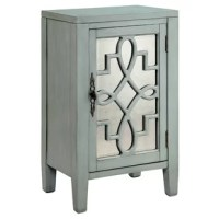 The Bardane accent cabinet is transitionally styled and features 1 door with antique mirrored glass and open fretwork, 1 fixed shelf and wire management on the back panel in a hand-painted.