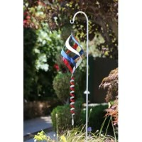 Add a touch of ambiance to your patio, lawn, or garden with garden stake. This durable colorful spinner is made of iron to withstand the harshest wind conditions and last throughout all seasons. The red, white, and blue colors are stylish all year long - not just the Fourth of July! The colors blend together as the wind swirls the spinners to create a beautiful color collage. The spinner is the perfect portable decor for lining your driveway, walkways or planting beds to be easily seen and...