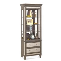 The Nesbitt Lighted Curio Cabinet is the perfect accent piece for any room of the home. With mirror trim features, this cabinet is a stand-out. Included is one deep drawer for storage; this cabinet has it all. This Accent Cabinet also features L.E.D. lighting with a 3-position touch button.