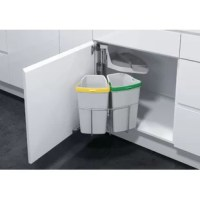 The hygienic, flexible and practical waste bin system. When the system is opened the lid lifts up and the bins swing out with the same motion as the door is opened, when the door is closed, the lid is automatically replaced on the bins. Cleanliness and hygiene are of prime importance. The bins are constructed of high-grade plastic with extra-smooth sides, making them easier to clean.  .