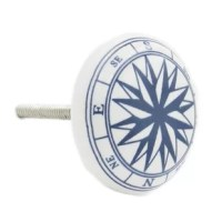 Ocean compass ceramic knob pull. The vintage high quality hand crafted authentic ceramic, glass and metal knobs and pulls can be used on dresser drawers, kitchen cabinets and bathroom cabinets. The decorative knobs will make any furniture look more elegant without the cost. The knobs are hand painted by some of the worlds best Artisans and glazed to protect the finishes. In stock and ready to ship from California!