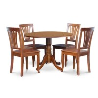 5 Piece kitchen round table with 2 drop leaves and 4 dinette chairs with wood seat in a saddle brown finish. The drop leaf small kitchen table set are of compact size, which is good for smaller dining room. Built from Asian wood, the round dining table set is finished in a glossy saddle brown finish.The small dinette set match perfectly in any classic dining area or dining-room. Supported by a one pedestal, this type of circular kitchen table even has user-friendly two drop leaves. Its...