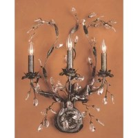 An antique-inspired design gets a glamorous update with this eye-catching candle wall sconce. Crafted of stainless steel, this fixture features a circular backplate with a floral motif and three candle-style lights nestled among sprawling branch-like arms in a deep rust finish. Clear crystal accents reminiscent of frozen water droplets adorn the sconce for a bit of bling, while a trio of exposed 60 W incandescent bulbs (not included) cast a warm glow over your space.