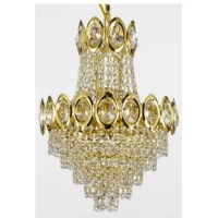Ah, chandeliers… where else can you get form, function, and flair all in one package? Measuring just 17'' H x 12'' W x 12'' D, this design is perfect for bringing the glitz and glamour of a full-size chandelier into a small-scale space. This two-tier design features a series of cascading crystal drops that shine with the reflected glow of four 40 W bulbs (not included). Gold accents round out the look, creating a truly chic luminary.