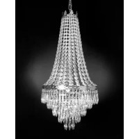 Ressed with 100% crystal, this chandelier is characteristic of the grand chandeliers which decorated the finest Chateaux and Palaces across Europe. Reflects a time of class and elegance which is sure to lend a special atmosphere in every home.