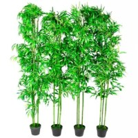 This tree consists of beautiful, real, bamboo stems embedded in a cement foot. It contains 1260 textile leaves which make these artificial trees very real and are ideal as a care-free decoration for the home or the office area. The plants are delivered carefully in a box and are packed without a planter. The leaves are located close to the trunk or are enclosed in the packaging. You only have to bend the leaves into the correct shape. Take care not to bend the branches directly on the trunk...