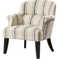 Formal parlor style gets a refreshing contemporary update in this tasteful, transitional armchair. Founded on a solid and manufactured wood frame, this chair strikes a club chair-style silhouette with a full backrest, recessed rolled arms, and four tapered square feet. Upholstered in polyester blend upholstery, this chair showcases a wide ticking stripe and piped edges for a tailored touch, while web suspension and foam filled cushioning provides comfort and support.