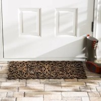 Doorway looking drab? Welcome guests to your home with a splash of sophisticated scroll work by rolling out this elegant doormat! Made from molded rubber, this rectangular door mat showcases a stunning openwork design of twirling curlicues and swirling curls. Measuring 18