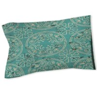 Worldly style meets boho-chic flair in this charming sham pillow. Made in the United States from 200 thread count polyester, this machine-washable design sports a simple rectangular silhouette and a distressed paisley medallion print. For an eclectic aesthetic in your master suite, start by rolling out an overdyed ornate area rug to define the space, then set a cherry end table with ivory bone inlays on each side of an ornately carved mahogany sleigh bed. Toss a mandala-pattern duvet over a...