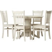 Sitting down for a meal doesn't always have to be so stuffy and formal, this five-piece dining set is perfect for a casual meal with family or a night in with friends playing board games. This solid wood traditional-style dining set comes with one table on a pedestal base and four chairs.