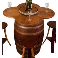 This table set with cabinet base has a cabinet door that opens to a head lazy susan shelf. Tabletop is constructed from four heads with original French stamps. Table set comes with a removable Lazy Susan on top. All materials used in this table set are oak and are retired metal from California wineries. The French stamps are from various cooperages that made the barrels. Table set comes with a removable lazy susan on top. Set includes four stools constructed from staves and boast the deep red...