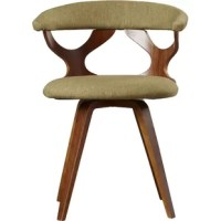 Bring a modern touch to your seating arrangement with this stylish accent chair. Made from bentwood plywood, it features four angled legs and two cutouts that form the back that is bound to be a talking point for guests. Its rounded back and swivel seat are both upholstered with a polyester blend and filled with plush foam.