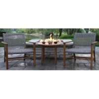 Sized for smaller outdoor spaces, this three-piece seating group set includes one side table and two arm chairs, so you have a spot to sit beside a loved one and soak up some sun. Crafted from solid teak wood in a natural stain, each piece resists weather, water, UV, and rust with regular maintenance (just treat with teak oil). Ash gray resin wicker wraps around the chair seats and backs, rounding out the design with a bit of breezy flair. Assembly is required. The manufacturer backs this set...
