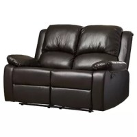 Relax in style with the Reclining Loveseat. This ultra-comfortable and super soft loveseat can be reclined as per your convenience. Thanks to the solid frame, this loveseat is sure to be a part of your home for years to come. Padded in foam and coils and upholstered in leather-like vinyl, this loveseat is the perfect piece of furniture to sit back and watch a movie or simply relax after a tiring day at work. The beautiful dark brown color further accentuates the look of this loveseat.