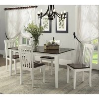 The Dawson Two-Toned 5-Piece Traditional Height Dining Set offers a rustic-inspired style that is sure to complement and enhance just about any dining or living space. This two-toned dining set is elegantly designed with a creamy white base with dark rustic mahogany table and chair tops. The wood panel table top with a distressed wood grain finish and tapered legs truly makes this dining set sophisticated enough for Sunday Brunch yet sturdy enough for Game Night. When you tell stories of the...