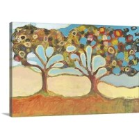 Large, horizontal, contemporary painting of two colorful trees with branches that appear to have grown together. Primary colors in this artwork include: Peach, light yellow, gray, light gray blue. This proprietary canvas provides a classic and distinctive texture, while archival UV protectant inks make it scratch and fade resistant. The fabric base is flexible to support tight corners. The finished canvas print is mounted on a sturdy yet lightweight board to protect against warping...